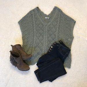 Sage Green Poncho Sweater